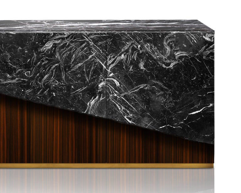 Contemporary Eunostus Credenza or Sideboard in Marble, Macassar Ebony, and Brass In New Condition For Sale In Husavik, IS
