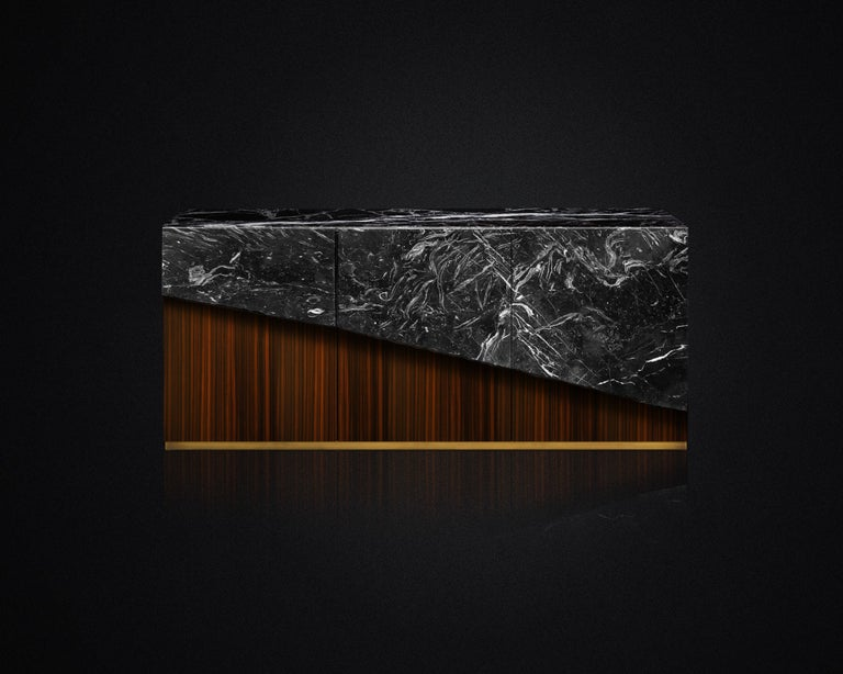 Contemporary Eunostus Credenza or Sideboard in Marble, Macassar Ebony, and Brass For Sale 1