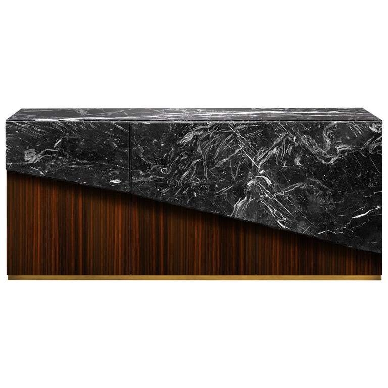 Contemporary Eunostus Credenza or Sideboard in Marble, Macassar Ebony, and Brass For Sale