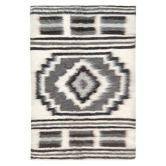 Contemporary European Folk Stamverband VII Ivory and Charcoal Rug
