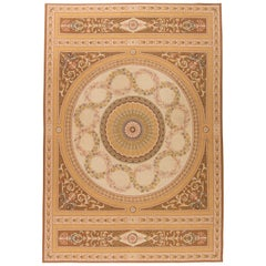 Contemporary European Inspired Aubusson Beige and Brown Flat-woven Wool Rug