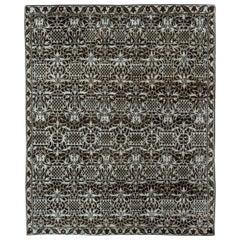 Contemporary European Inspired Tibetan Brown and White Handmade Wool Rug
