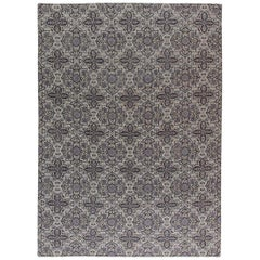 Contemporary European Inspired Tibetan Gray and Black Hand Knotted Wool Rug