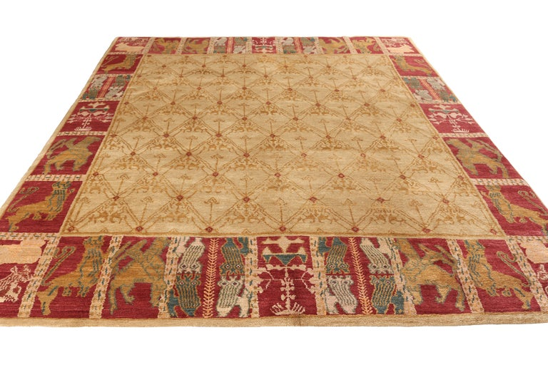 """Hand knotted in wool, this 8 x 10 rug from the European rug collection by Rug & Kilim draws inspiration from an early 20th century Spanish Colonial rug pattern of acclaim, affectionately dubbed """"Cortez"""" among the custom-capable European rug patterns"""