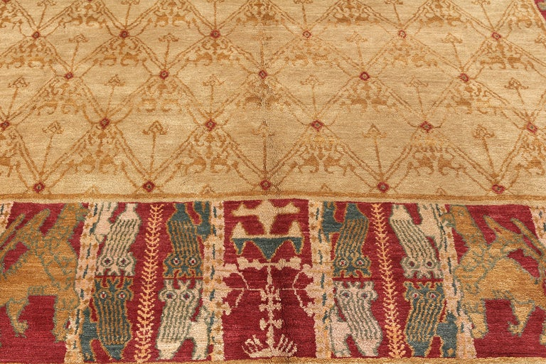 Spanish Colonial Contemporary European Style Rug Beige Red Custom Spanish Pattern by Rug & Kilim