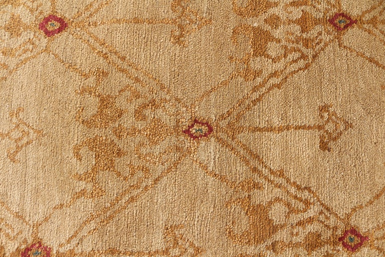 Nepalese Contemporary European Style Rug Beige Red Custom Spanish Pattern by Rug & Kilim