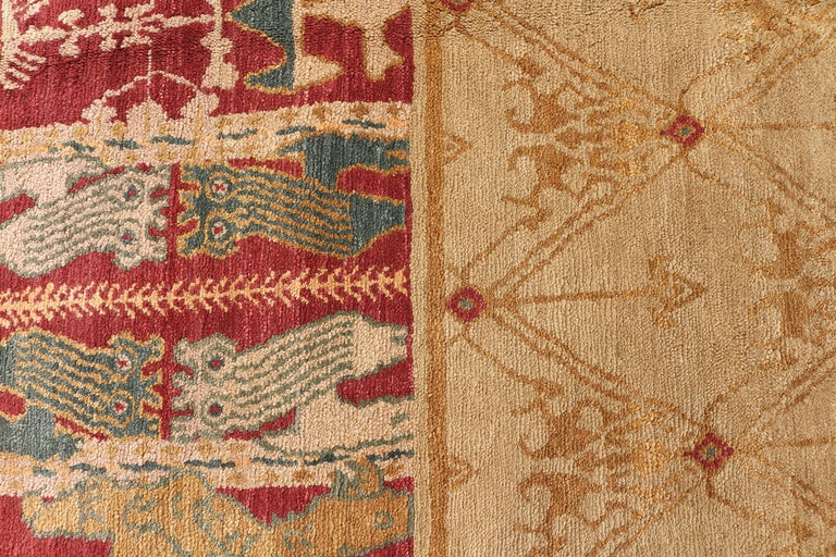 Hand-Knotted Contemporary European Style Rug Beige Red Custom Spanish Pattern by Rug & Kilim