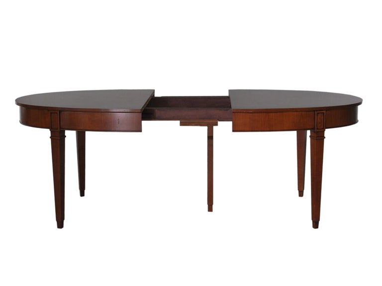 Italian Contemporary Extendable Oval Table in Direttorio Style Made of Cherry Wood For Sale