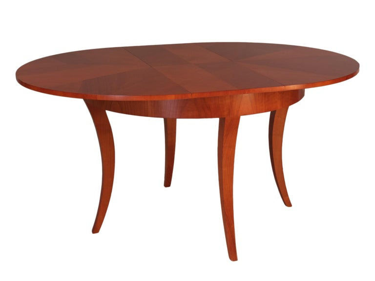 Italian Contemporary Extendable Table in Biedermeier Style Made of Cherrywood For Sale
