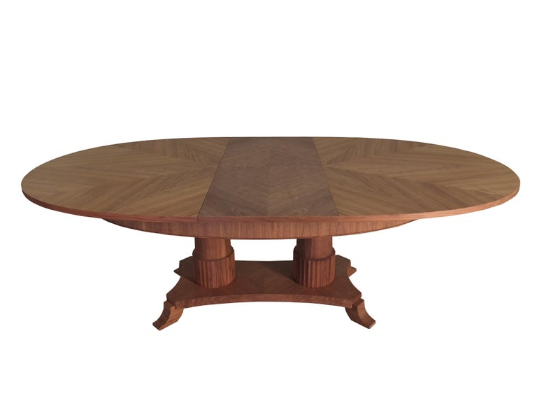 Cherry Contemporary extendable table in Biedermeier style made of cherry wood For Sale