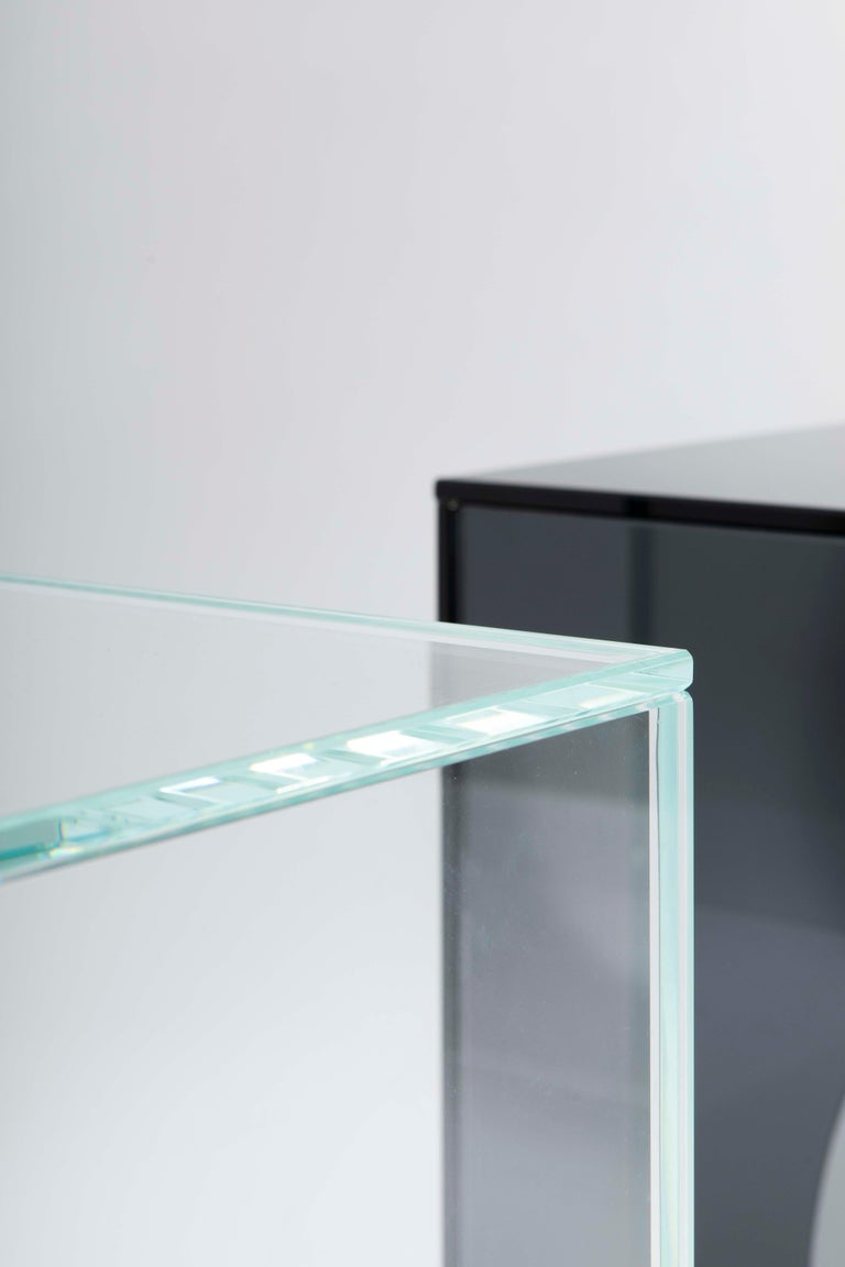Belgian Contemporary Extra Clear Glass Side Table, Arch 01.2 by Barh For Sale