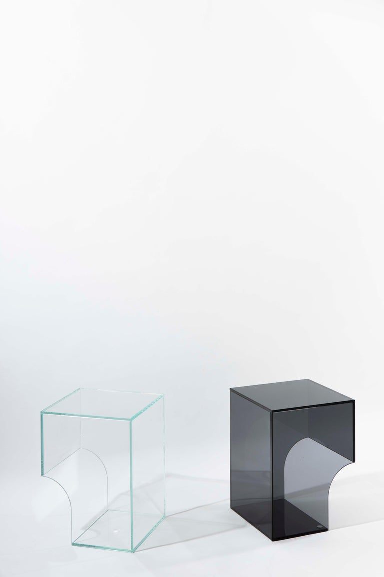 Contemporary Extra Clear Glass Side Table, Arch 01.2 by Barh In New Condition For Sale In Aartselaar, Antwerp
