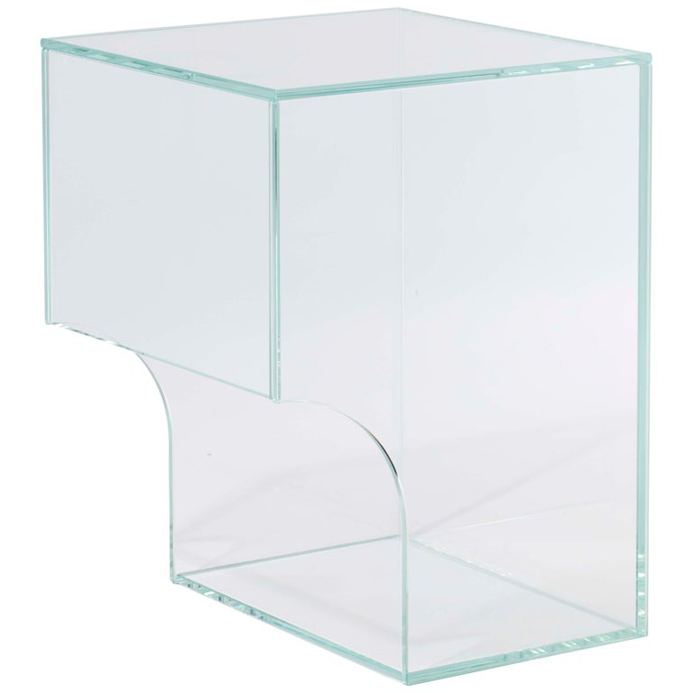 Contemporary Extra Clear Glass Side Table, Arch 01.2 by Barh For Sale