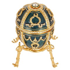 Contemporary Fabergé Easter Egg with Green Guilloché Enamel and Gemstones