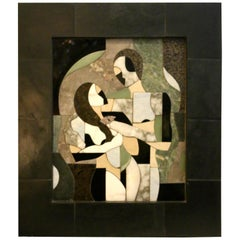 contemporary F.Aguila  mixed raised  stone abstract portrait a man, women