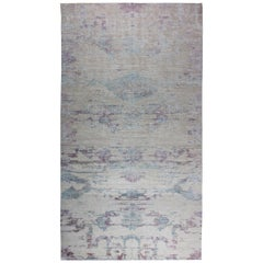 Contemporary Faint Blues Hand Knotted Silk, Wool & Cotton Rug