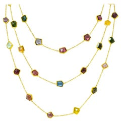 Contemporary Fancy Colored Tourmaline 18 Karat Gold Long Station Necklace