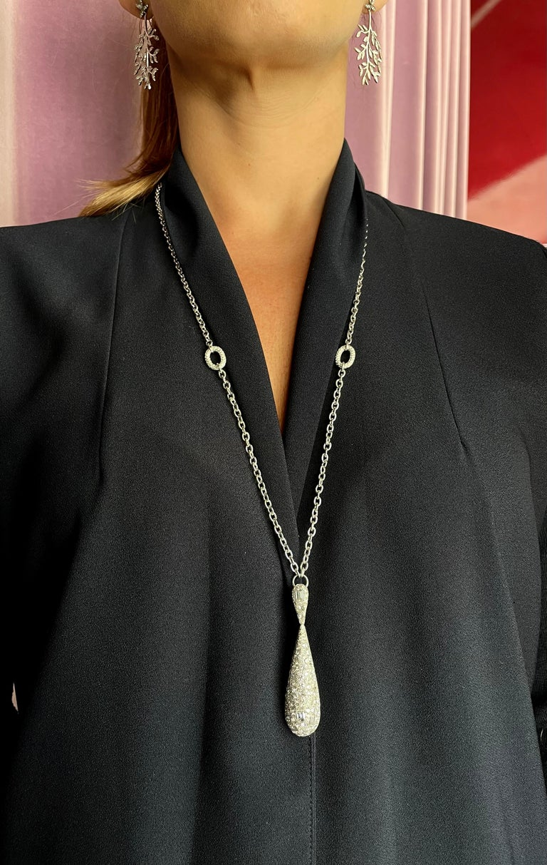 Mixed Cut Contemporary Fancy Cut Diamond and White Gold Pear Shape Pendant Necklace For Sale