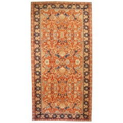 Contemporary Farahan Style Rug with Navy and Gray Floral Details on Orange Field