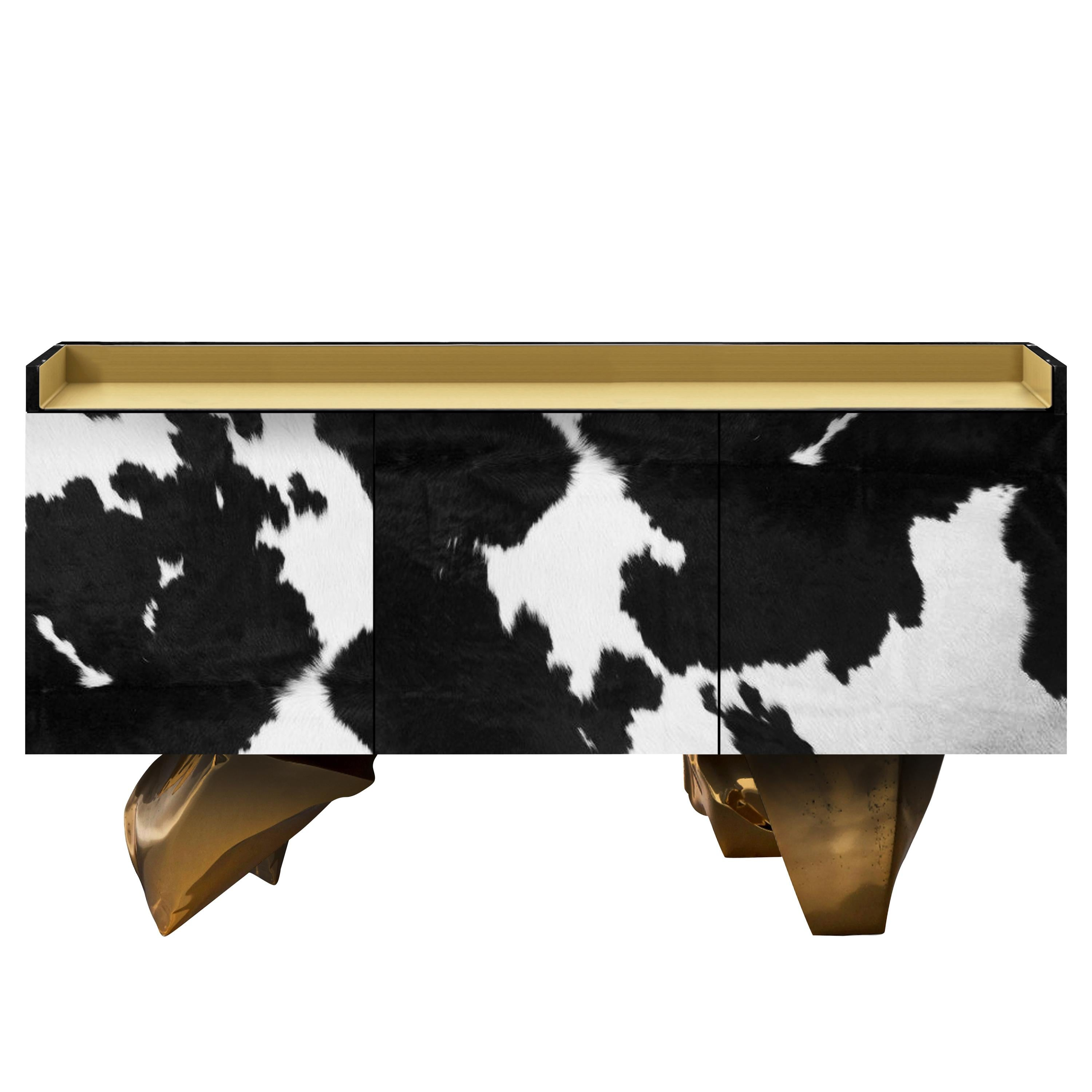 Contemporary Farm Sideboard, Black, Brass, Copper, Cowhide