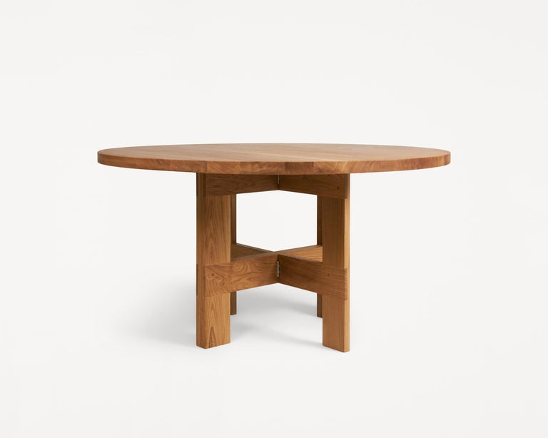 In the sentiment of traditional farmhouses, the table solely inhabits elements of function; abiding to the notion of the simple life on the countryside whilst expressing a rural aesthetic.  The farmhouse table is composed by two trestles used in