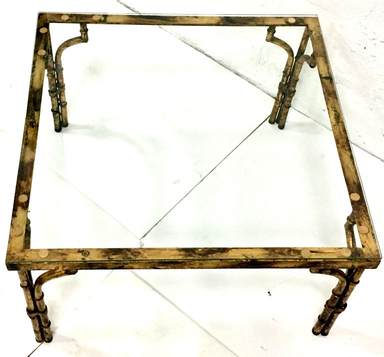 Contemporary 21st Century Faux Bamboo Gilt Gold Glass Top Iron Coffee Table For Sale
