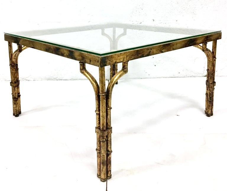 Chinese Chippendale 21st Century Faux Bamboo Gilt Gold Glass Top Iron Coffee Table For Sale