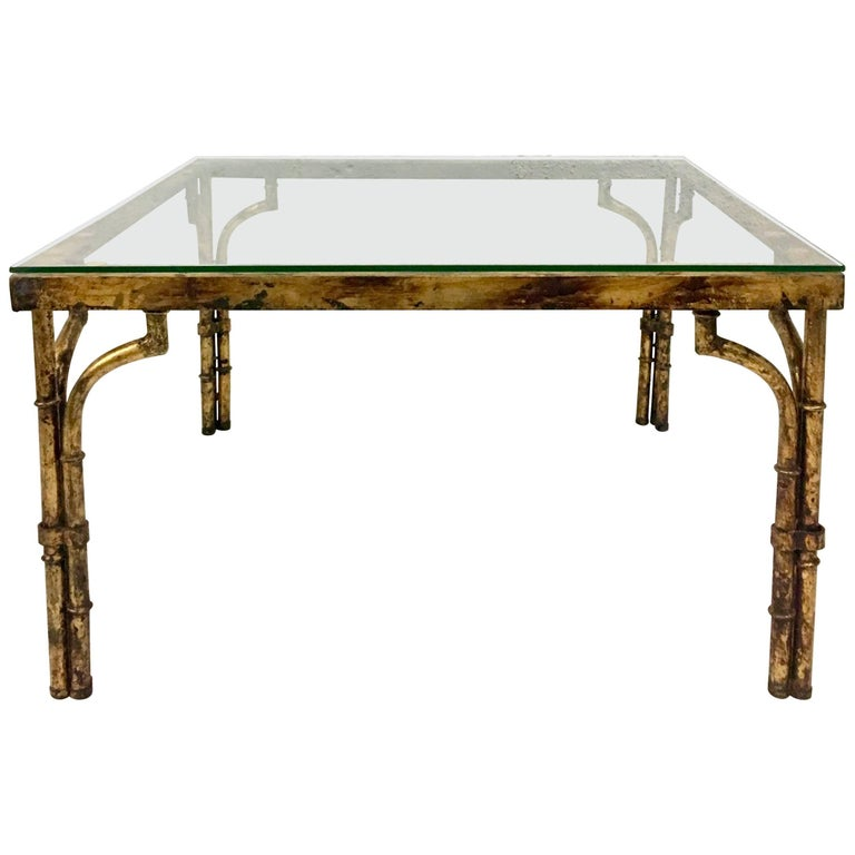 21st Century Faux Bamboo Gilt Gold Glass Top Iron Coffee Table For Sale