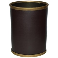 Contemporary Faux Leather Wastebasket with a Vintage Feel