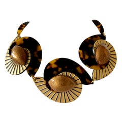 Contemporary  Faux Tortoise Gold  Swirl Abstract Statement Necklace