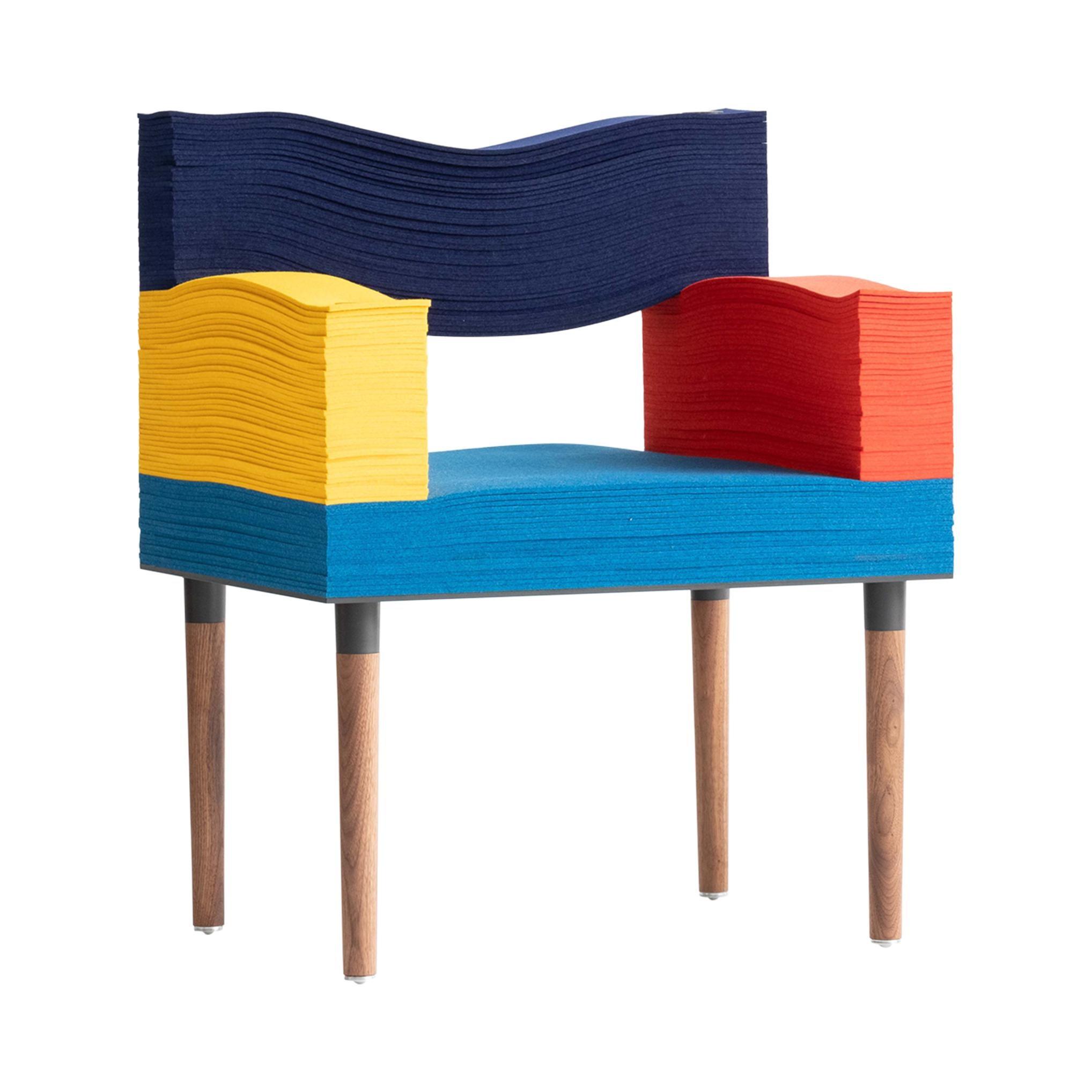 Contemporary Felt Series Armchair Merino Wool Felt and Walnut by Stacklab