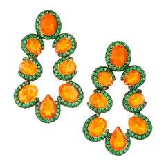 "Contemporary ""Fire"" Opal and Tsavorite Yellow Gold Dangle Earrings"