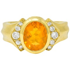 Contemporary Fire Opal Diamond 18 Karat Gold Gemstone Ring