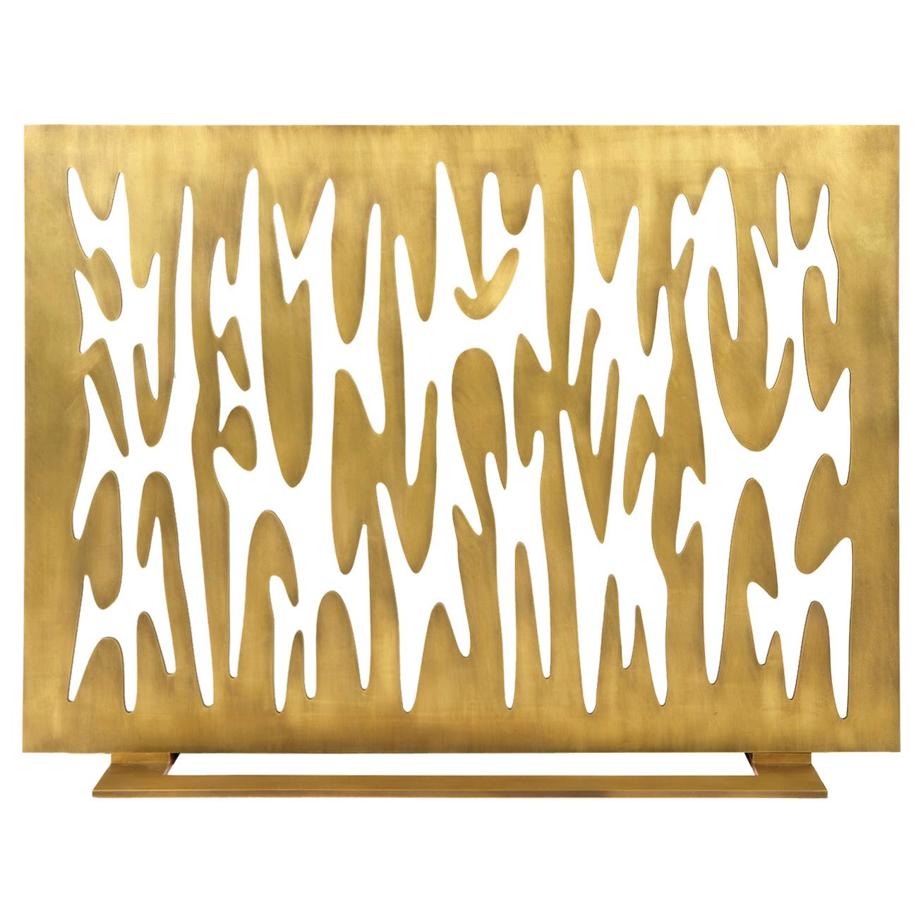 """Contemporary Fireplace Screen """"Argos"""" in Brass with Organic Forms, by Anaktae"""