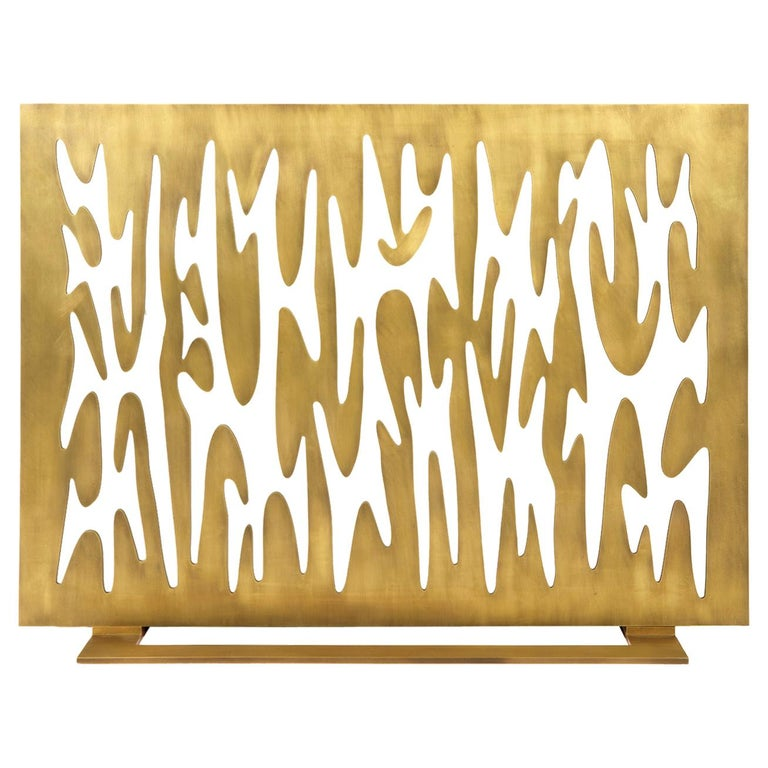 "Contemporary Fireplace Screen ""Argos"" in Brass with Organic Forms, by Anaktae For Sale"