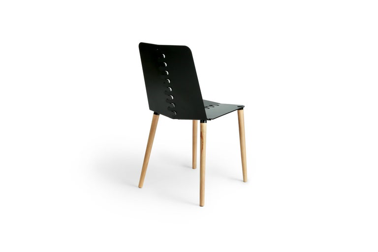 Black Contemporary Minimal Modern Powder-Coated Aluminum and Wood Dining Chair For Sale 4