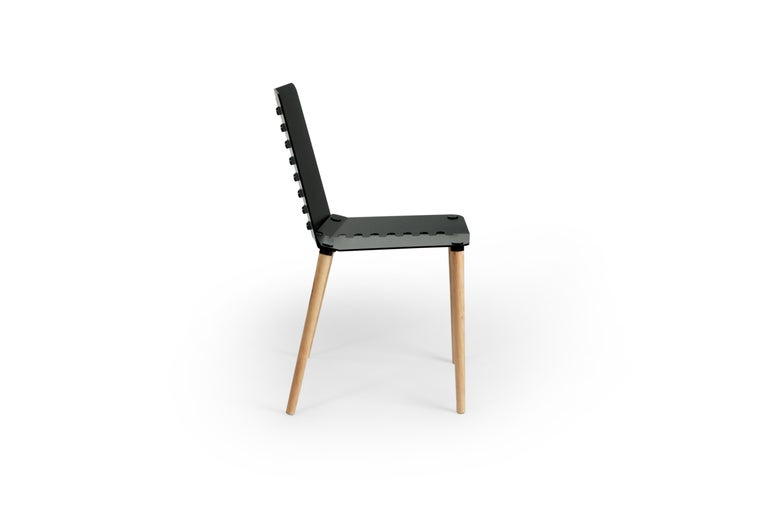 Black Contemporary Minimal Modern Powder-Coated Aluminum and Wood Dining Chair For Sale 5