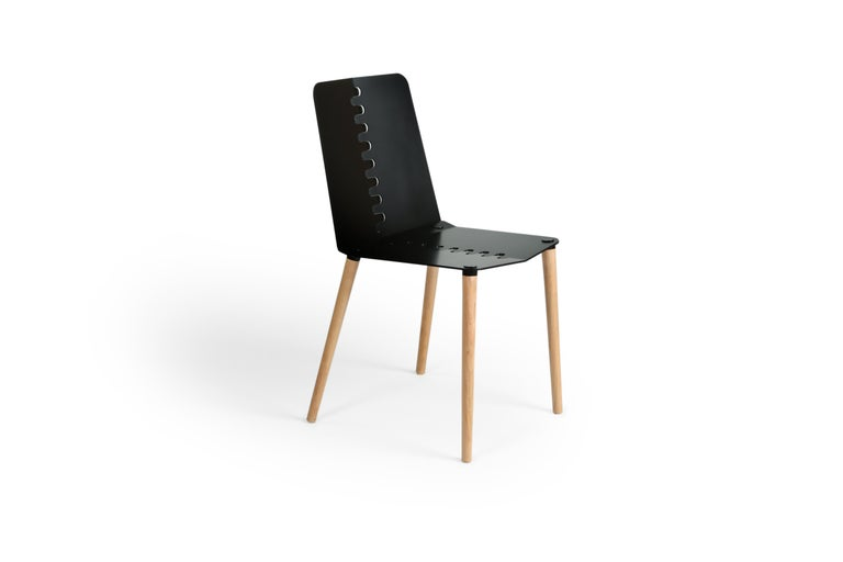 Black Contemporary Minimal Modern Powder-Coated Aluminum and Wood Dining Chair For Sale 6