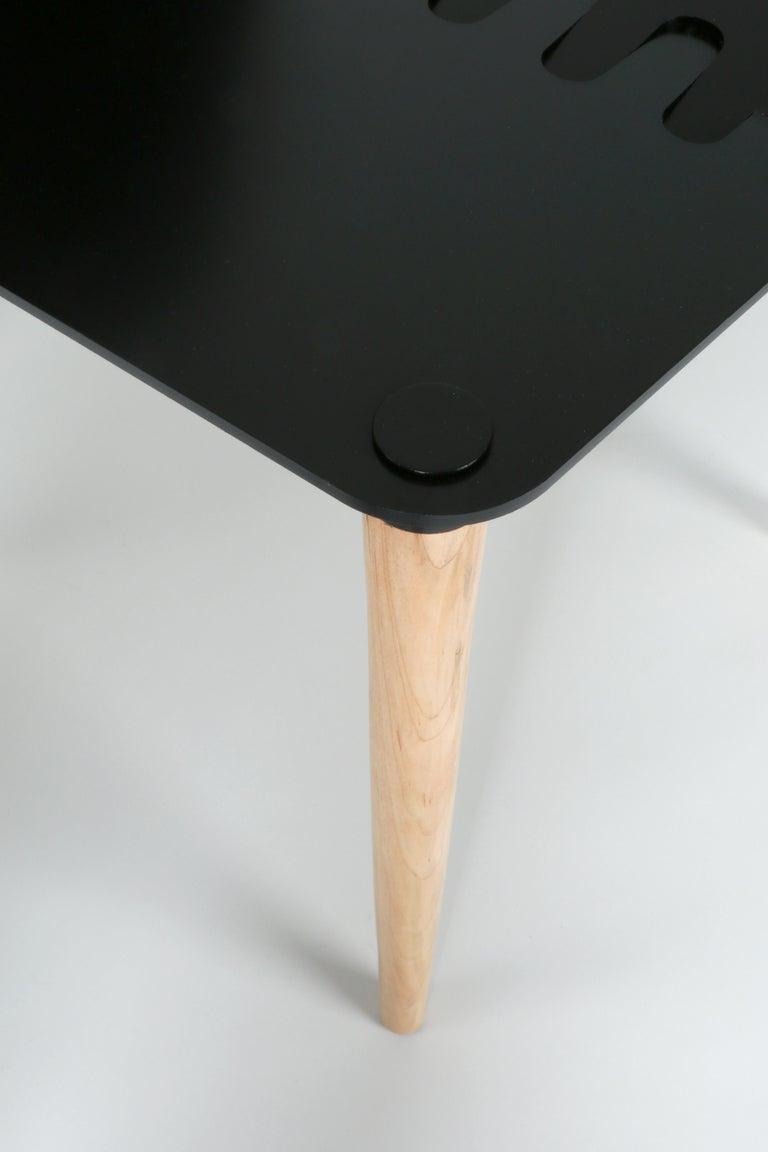 Ebonized Black Contemporary Minimal Modern Powder-Coated Aluminum and Wood Dining Chair For Sale