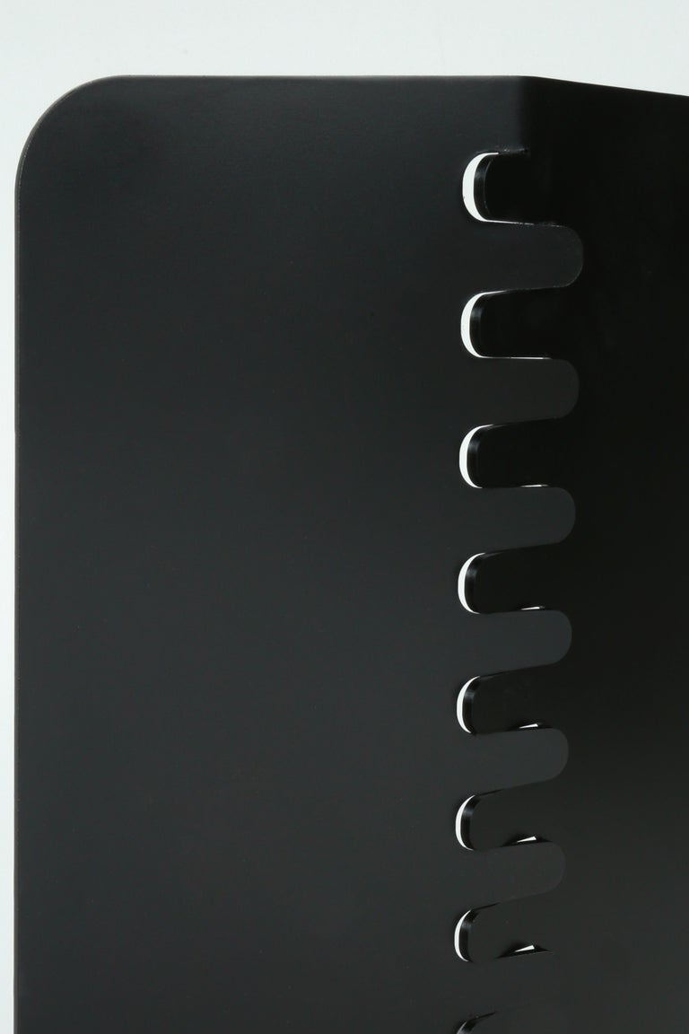 Black Contemporary Minimal Modern Powder-Coated Aluminum and Wood Dining Chair In New Condition For Sale In Bozeman, MT