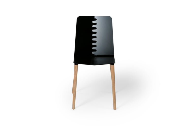 Walnut Black Contemporary Minimal Modern Powder-Coated Aluminum and Wood Dining Chair For Sale