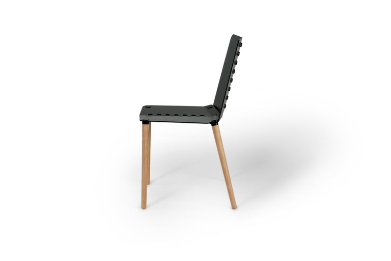 Black Contemporary Minimal Modern Powder-Coated Aluminum and Wood Dining Chair For Sale 1