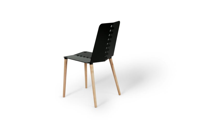 Contemporary Flat-Pack Aluminum and Wood Dining Chair For Sale 2