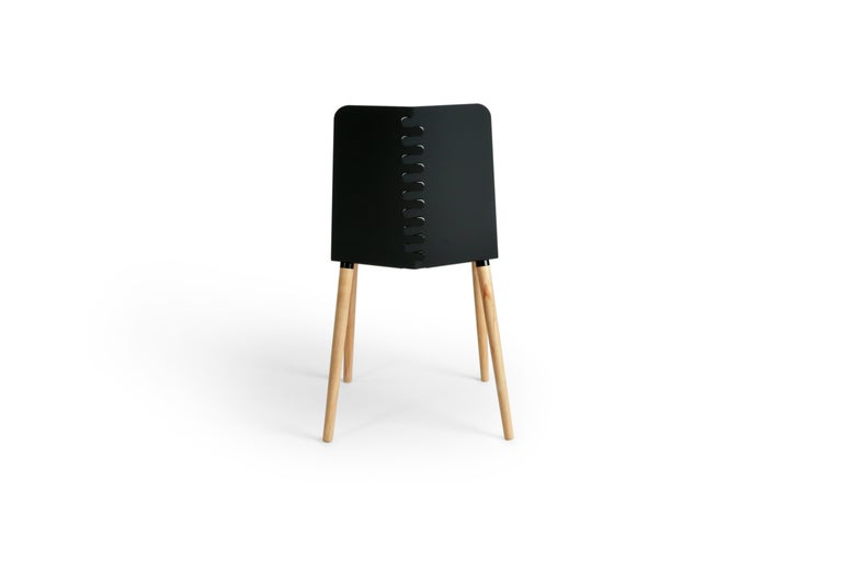 Black Contemporary Minimal Modern Powder-Coated Aluminum and Wood Dining Chair For Sale 3