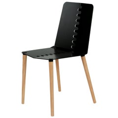 Black Contemporary Minimal Modern Powder-Coated Aluminum and Wood Dining Chair