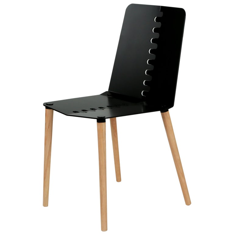 Contemporary Flat-Pack Aluminum and Wood Dining Chair For Sale