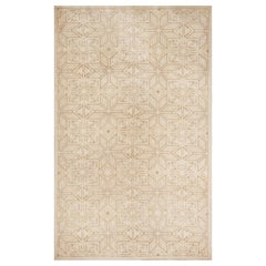 Contemporary Flat-Weave and Pile Beige Wool Rug