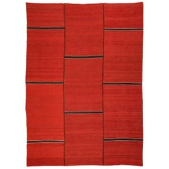 Contemporary Flat-Weave Handmade Red and Brown Kilim Wool Rug