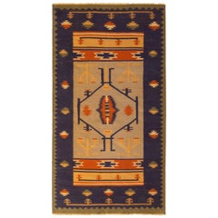 Contemporary Flat-Weave Rug Blue Tribal Pattern by Rug & Kilim