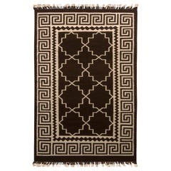 Contemporary Flat-Weave Rug Brown and Beige Transitional Kilim Rug